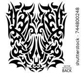 tribal tattoo on the back ... | Shutterstock .eps vector #744800248