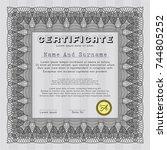 grey certificate of achievement.... | Shutterstock .eps vector #744805252