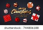 merry christmas handwriting... | Shutterstock .eps vector #744806188