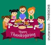thanksgiving set  isolated... | Shutterstock .eps vector #744808348