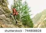 adventurous explorer trekking...   Shutterstock . vector #744808828