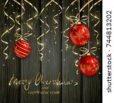 red christmas balls with golden ... | Shutterstock .eps vector #744813202