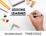 lessons learned. white office... | Shutterstock . vector #744813562