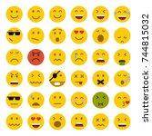 set of emoticons. set of emoji. ... | Shutterstock .eps vector #744815032