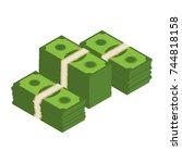 isometric dollar banknotes.... | Shutterstock .eps vector #744818158