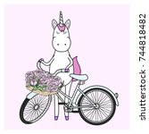 unicorn with his bicycle | Shutterstock .eps vector #744818482