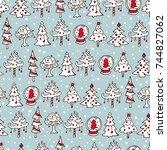 seamless retro christmas... | Shutterstock .eps vector #744827062