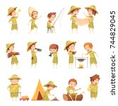 boy scout fishing campfire... | Shutterstock .eps vector #744829045