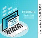 programmer coding binary... | Shutterstock .eps vector #744830152
