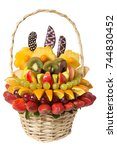 basket with fruits and berries... | Shutterstock . vector #744830452