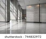 interior of a lobby hotel... | Shutterstock . vector #744832972