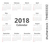 yearly wall calendar planner... | Shutterstock .eps vector #744833332