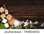 various types of sugar   brown  ... | Shutterstock . vector #744834052