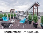 beautiful rooftop terrace with... | Shutterstock . vector #744836236