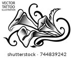 tribal tattoo calla lilly on... | Shutterstock .eps vector #744839242