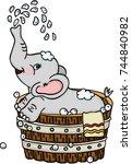 Cute Elephant Taking A Bath In...