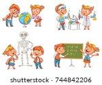 children in the lesson of... | Shutterstock .eps vector #744842206