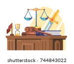 jurisprudence court and law... | Shutterstock .eps vector #744843022
