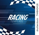 Racing Square Background With...