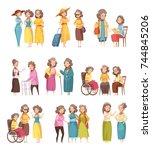 senior women groups retro... | Shutterstock .eps vector #744845206