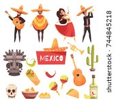 mexico decorative icons set of... | Shutterstock .eps vector #744845218