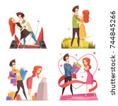 couple in love 2x2 design... | Shutterstock .eps vector #744845266