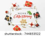 merry christmas background.... | Shutterstock .eps vector #744853522