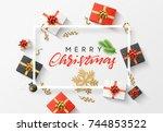merry christmas background.... | Shutterstock .eps vector #744853522