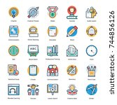 education and knowledge icons   | Shutterstock .eps vector #744856126