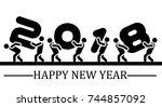 2018 happy new year black... | Shutterstock . vector #744857092