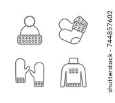knit icon set. knitting clothes ... | Shutterstock . vector #744857602