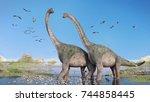 couple of brachiosaurus...   Shutterstock . vector #744858445