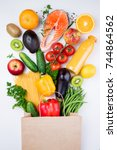 healthy food background.... | Shutterstock . vector #744864562