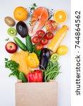 healthy food background.... | Shutterstock . vector #744864562