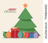 christmas card with tree gifts... | Shutterstock .eps vector #744864682