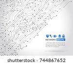 high tech technology background ... | Shutterstock .eps vector #744867652