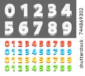 color 3d numbers | Shutterstock .eps vector #744869302