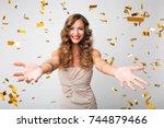 beautiful sexy woman in evening ... | Shutterstock . vector #744879466