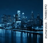 philadelphia skyline at night... | Shutterstock . vector #744881992
