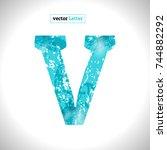 font symbol v. grunge vector... | Shutterstock .eps vector #744882292