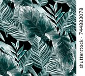 watercolor seamless pattern... | Shutterstock . vector #744883078