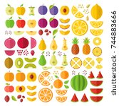 fruits. flat icons set. whole... | Shutterstock .eps vector #744883666
