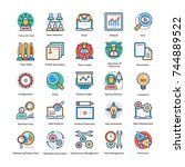 project management icons flat... | Shutterstock .eps vector #744889522