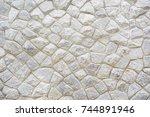 white stone wall. | Shutterstock . vector #744891946