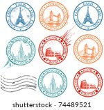 city stamps collection with... | Shutterstock .eps vector #74489521