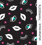 seamless pattern with mouth ...   Shutterstock .eps vector #744900376