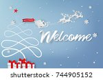 paper art of welcome to merry... | Shutterstock .eps vector #744905152
