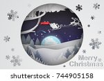 paper art of  merry christmas... | Shutterstock .eps vector #744905158
