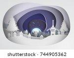 paper art of  merry christmas... | Shutterstock .eps vector #744905362