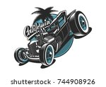 classic american hot rod... | Shutterstock . vector #744908926